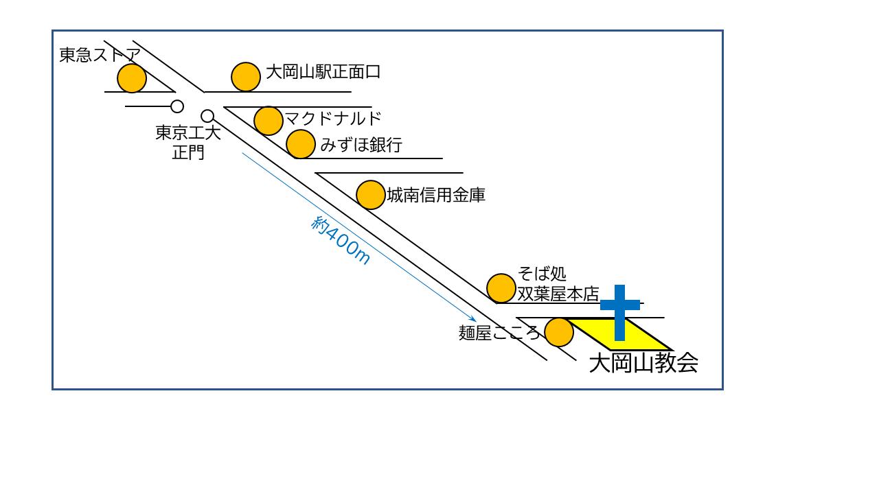 大岡山教会への地図
